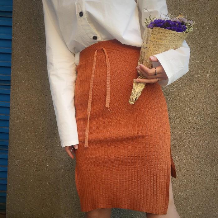 寬鬆開叉不規則包臀裙針織半身裙中長款女