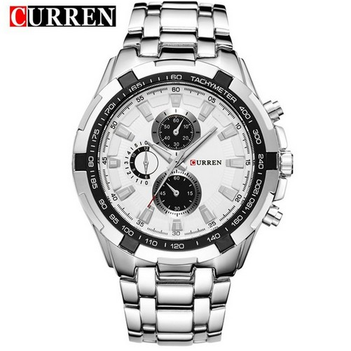 Curren 男士银色不锈钢表带手表黑色8023