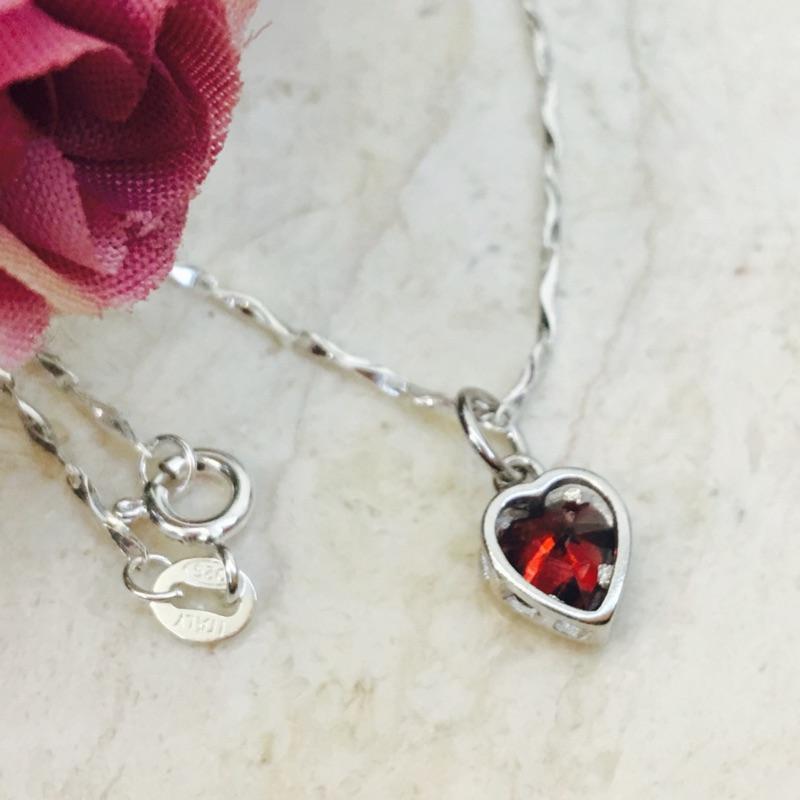 新品925 純銀義大利Italy 項鍊紅色水晶鑽愛心吊墜純銀項鍊
