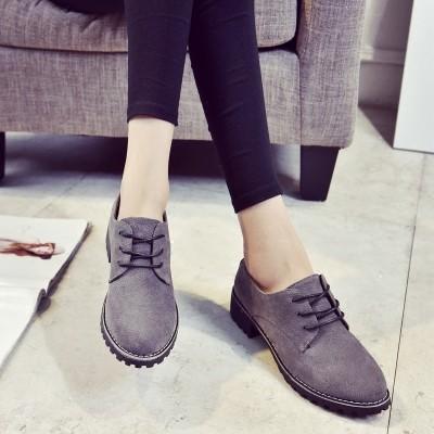 ☞☞☞ギケグn 粗跟短靴女馬丁靴英倫風磨砂皮粗跟中跟及裸靴擦色簡約女靴子