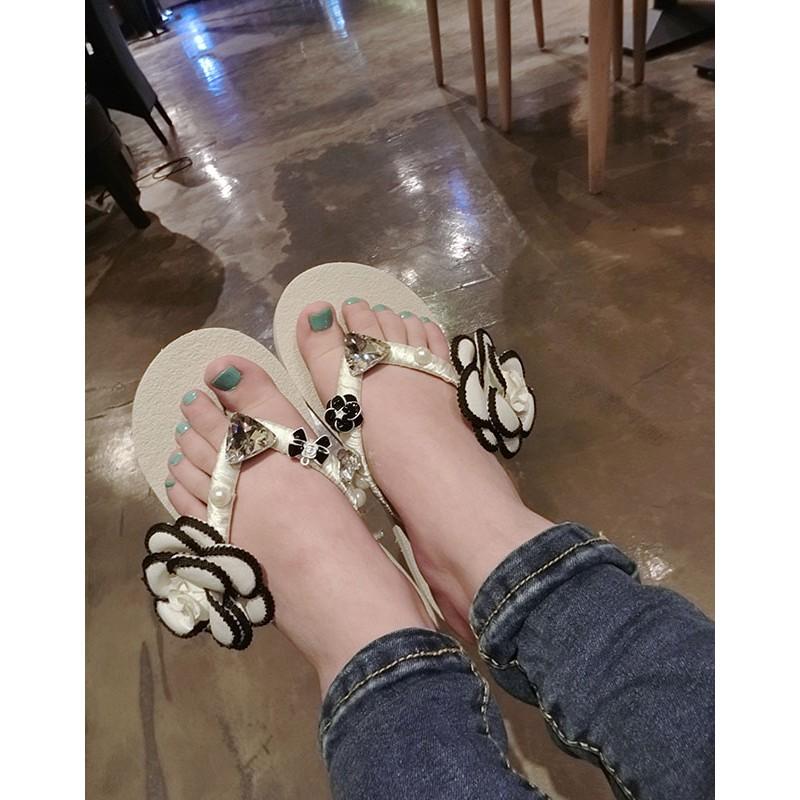 歐洲站 小香山茶花珍珠水鑽蝴蝶結花朵人字拖鞋女涼拖海邊沙灘高跟鞋單鞋豆豆鞋涼鞋懶人