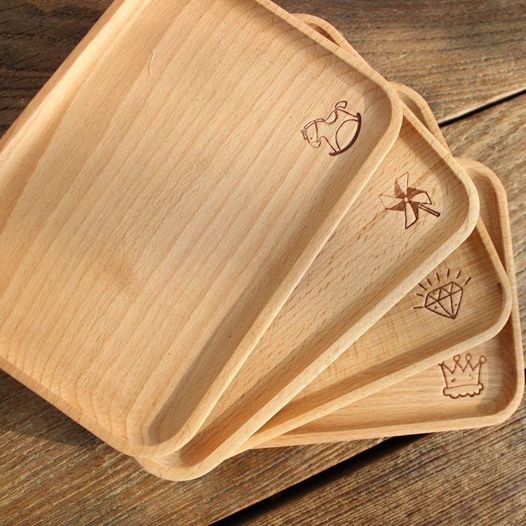 菊色雛窗* 日式Zakka 實木雕花小方盤點心盤零食盤小托盤美食拍照 木托盤木馬皇冠