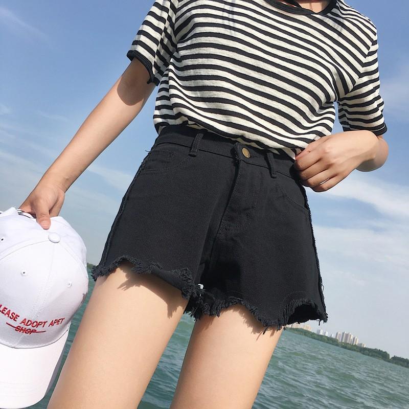 刷破褲牛仔短褲毛邊 學生短褲休閒褲熱褲度假海邊出國韓妞