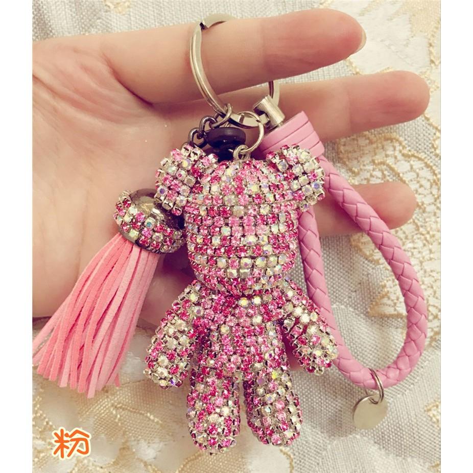 超閃bling 韓國鑲鑽暴力熊公仔吊飾包包吊飾鑰匙圈純