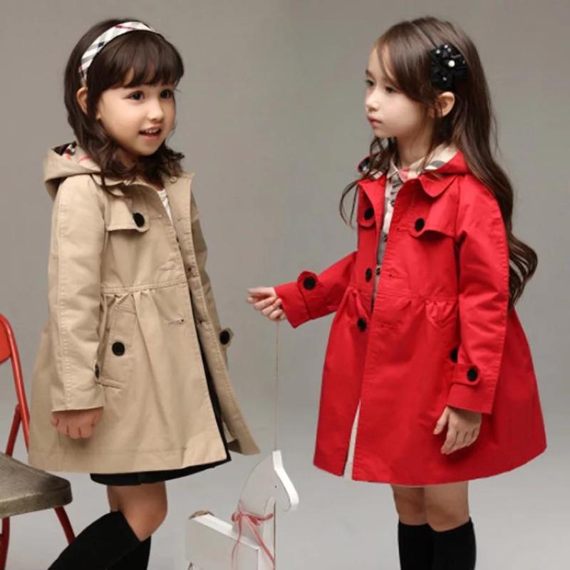 女童春秋 外套連帽英倫女童風衣小中大童兒童風衣秋裝外套