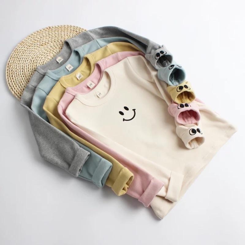 女童男童男寶女寶純棉微笑長袖上衣