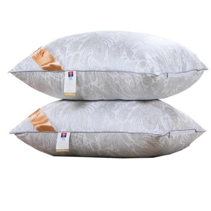 富安娜枕芯 護頸保健頸椎枕純棉防螨酒店枕頭床上用品羽絨枕ZT312  颜色分类灰色1 個非