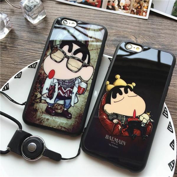 ✨ ✨ 貨~手機殼掛繩~iPhone 蠟筆小新鏡面手機殼、鏡面殼、TPU 軟殼、防摔殼蘋果
