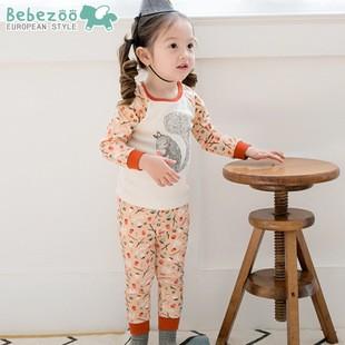 ⛱ ⛱女童韓國Bebezoo 女童 款松鼠森林純棉長袖家居服睡衣套裝