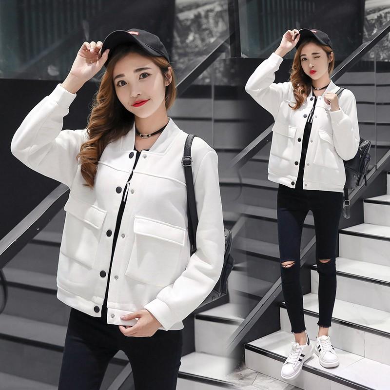 棒球服女秋 大碼長袖開衫寬鬆百搭加厚學生情侶夾克小外套