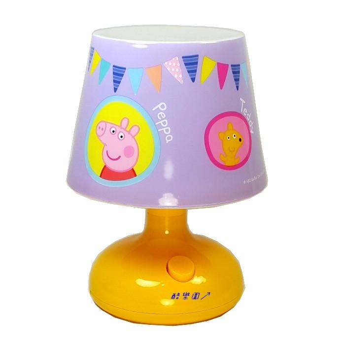 粉紅豬小妹七彩炫光小夜燈座燈A 紫Peppa 佩佩豬檯燈枱燈桌燈LED USB 生日