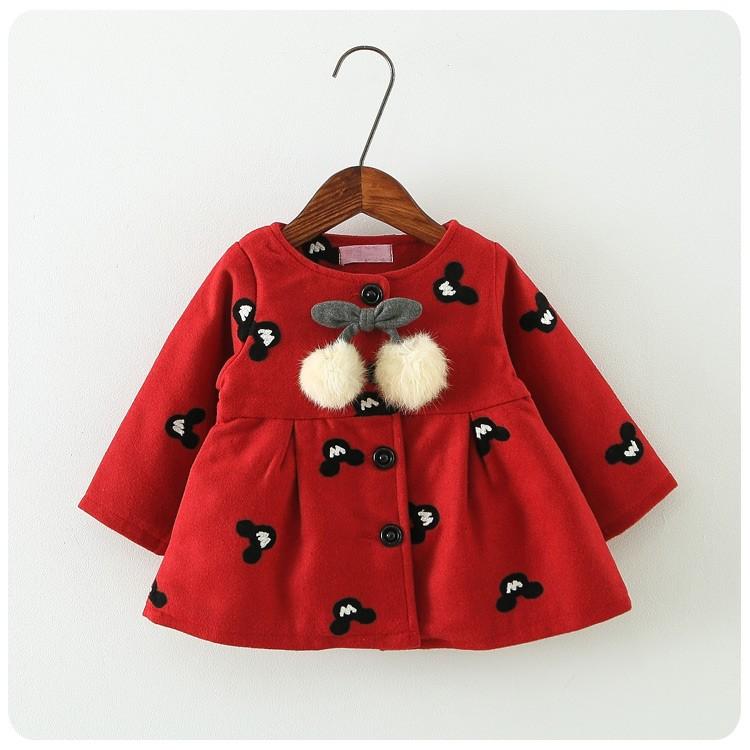 2016 春裝 純色刺繡米奇外套紅外套