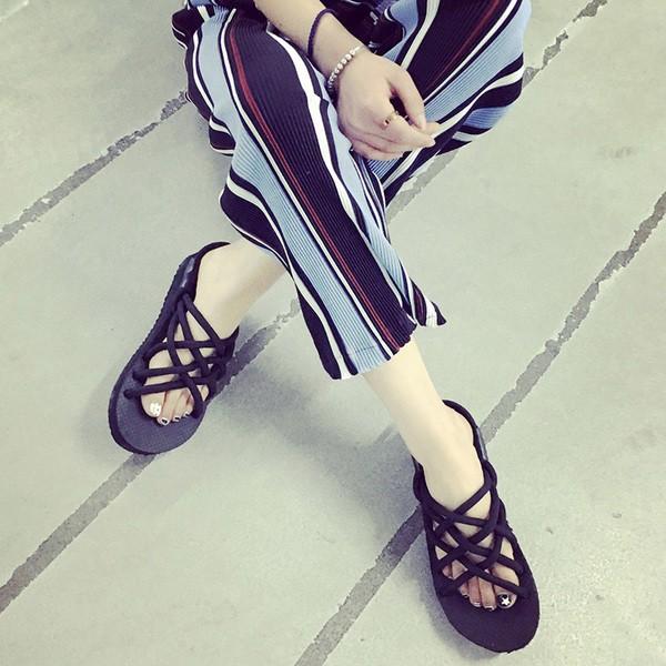 P2016 ulzzang 涼鞋女鞋複古百搭原宿平跟羅馬情侶沙灘鞋平底潮