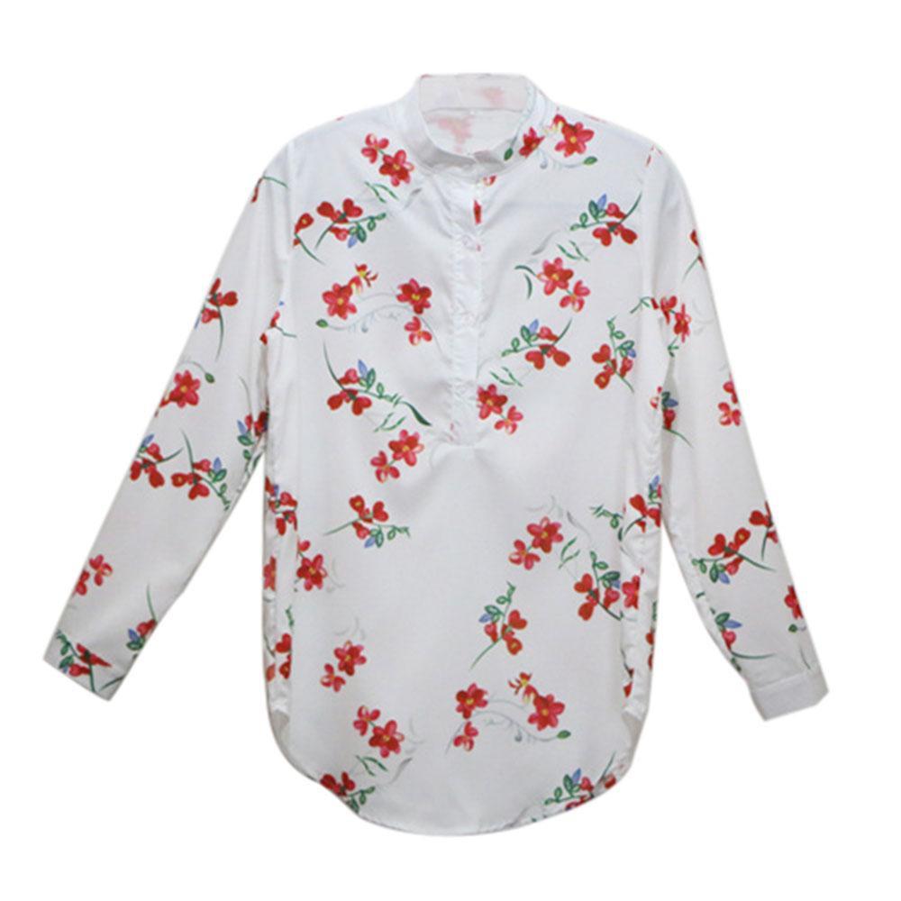 女款數碼花朵印花長款襯衫白色,滌綸