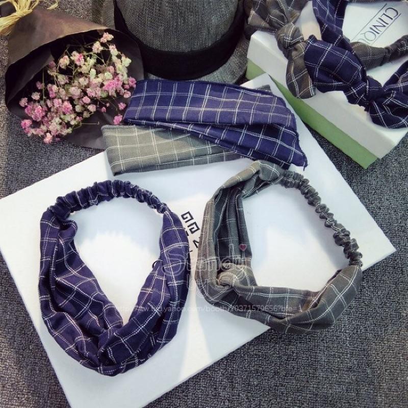 韓國 復古英倫學院風格子交叉髮鬆緊帶髮帶髪卡頭飾—2 款