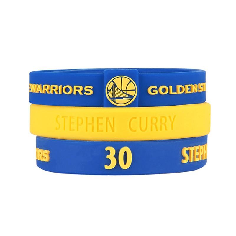 NBA 官方  矽膠手環金州勇士柯理CURRY 包金州勇士手環柯理手環凸字兩條