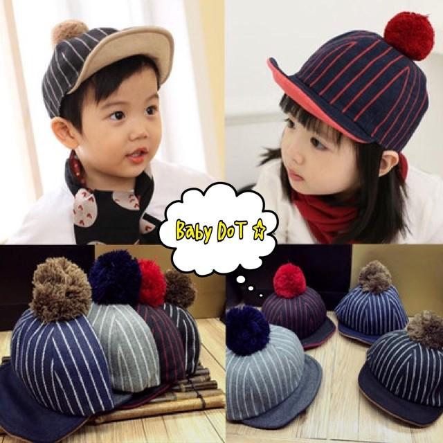 韓國 ✨寶寶毛球帽毛呢帽毛球鴨舌帽鴨舌帽頭頂球帽球球帽子條紋拼色撞色1 3 歲