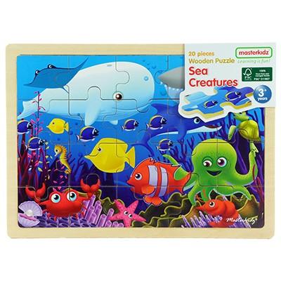 木製拼圖海洋Masterkidz 好童年代理~部分與整體、圖形與空間關係認知;視覺及圖形辨