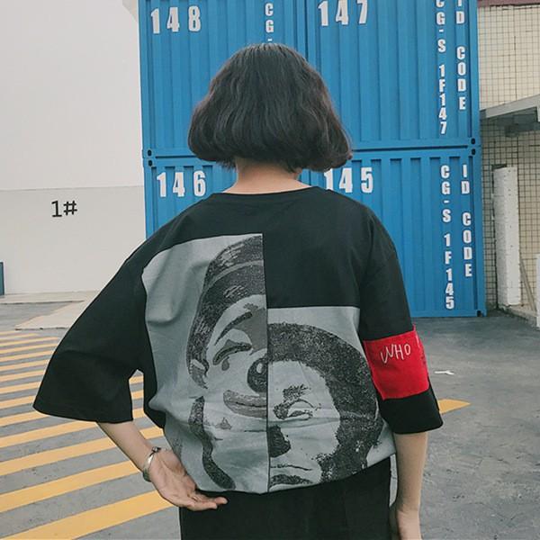 上衣 BF 風日系刺繡雙面人生小醜半袖男女情侶班服短袖T 恤