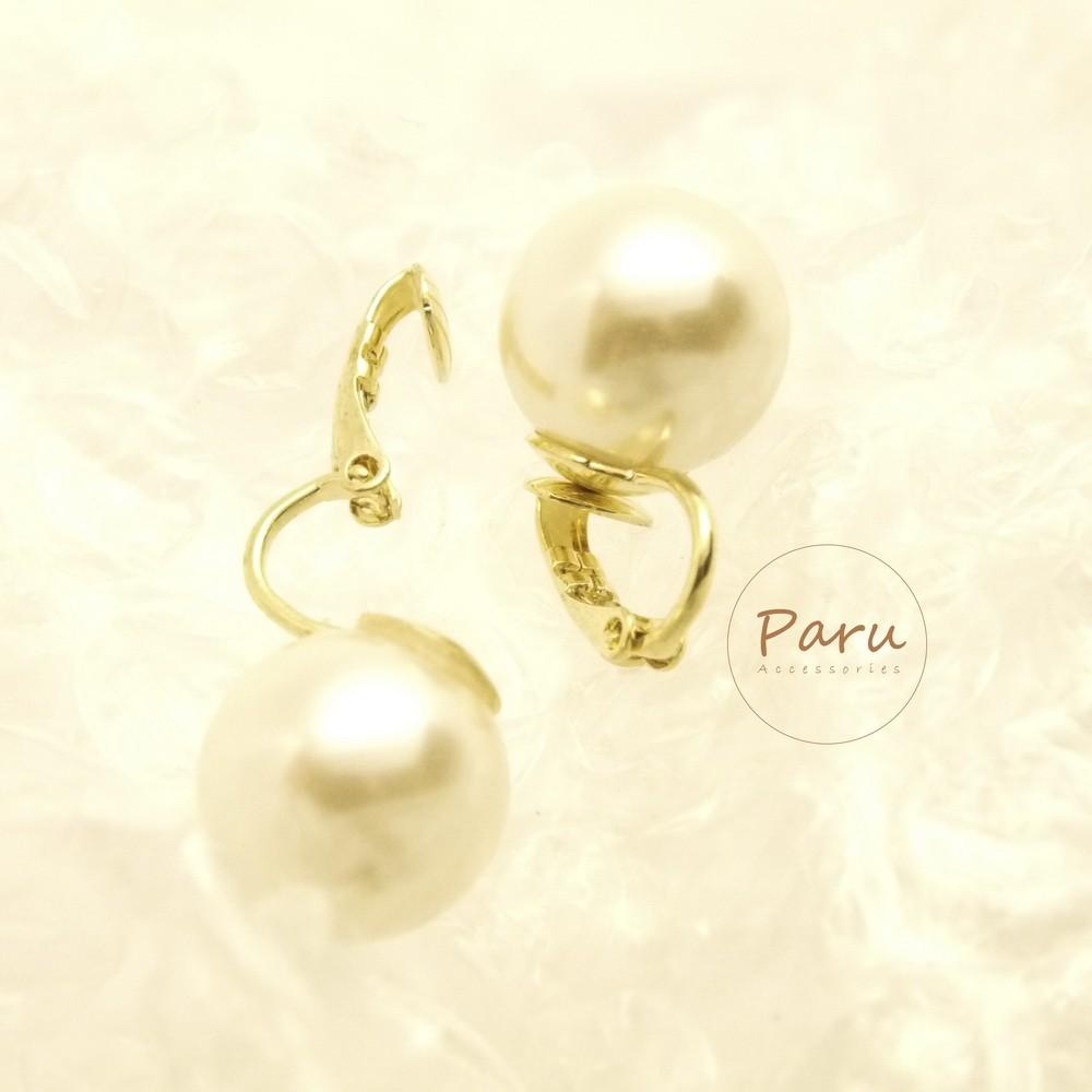 Paru ~大圓珍珠立體耳夾式耳環不痛大方 復古可愛圓點日系甜美珍珠白小美人魚公主浪漫生日