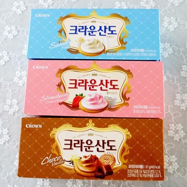 韓國CROWN 皇冠夾心餅乾│牛奶│巧克力│草莓│8 入│161g