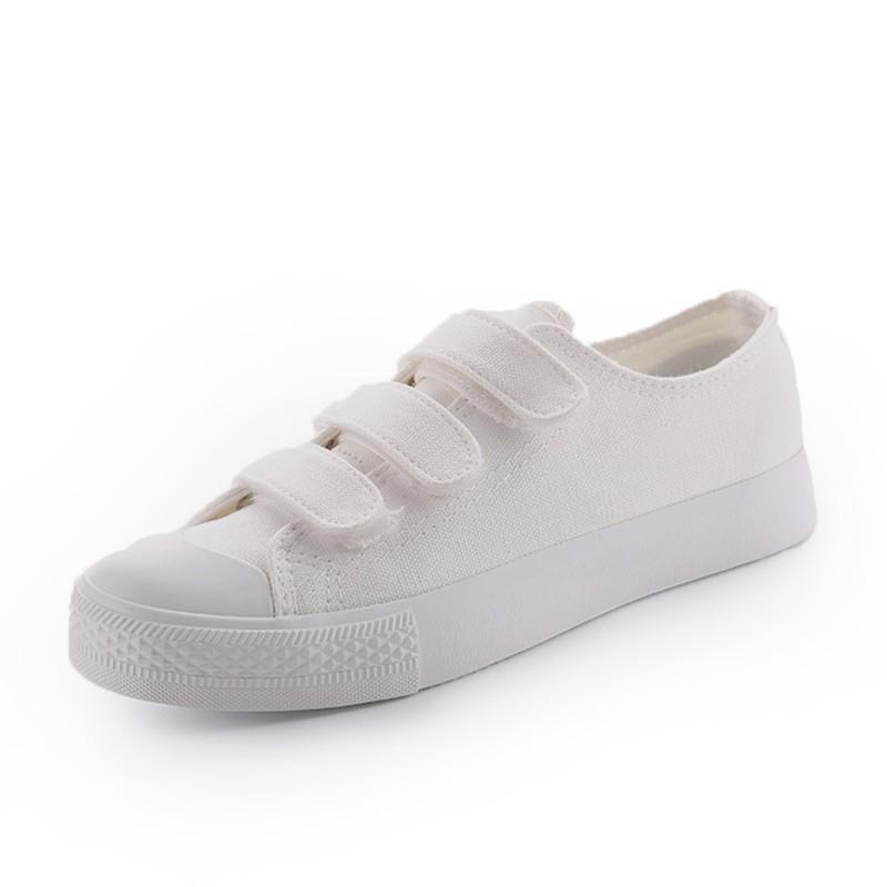 2017  懶人魔術貼女鞋白色帆布鞋女學生 布鞋百搭白鞋女休閒鞋百搭