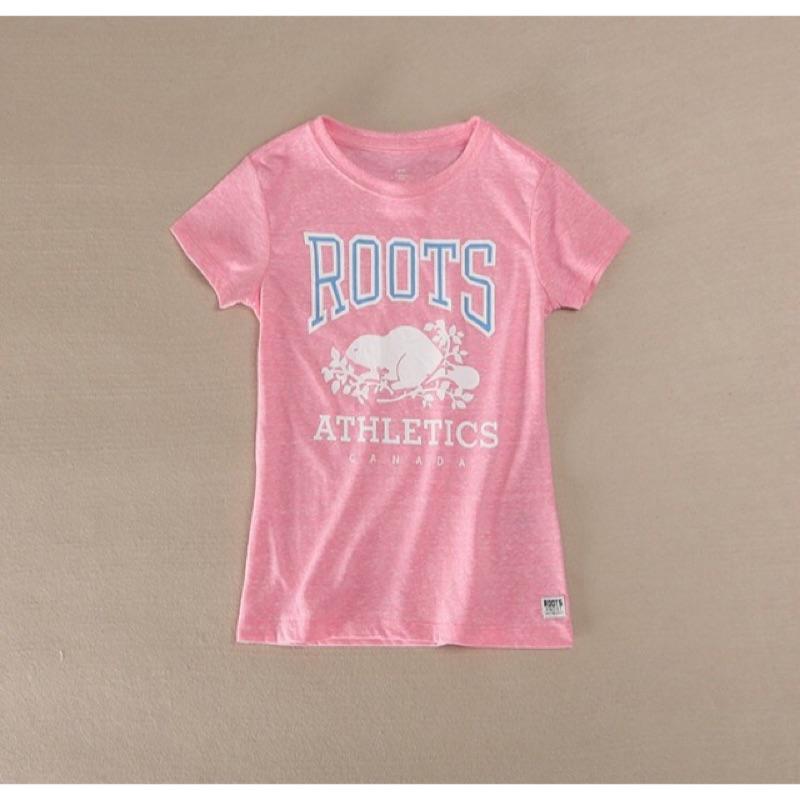 ‼️零碼特‼️16 小清新 4 14 歲女 正品Roots 海狸淺粉短袖T 恤M L