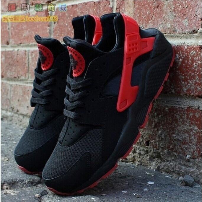 NIKEAIRHUARACHERUNQSLOVE HATE 黑紅黑武士訓練鞋慢跑鞋男