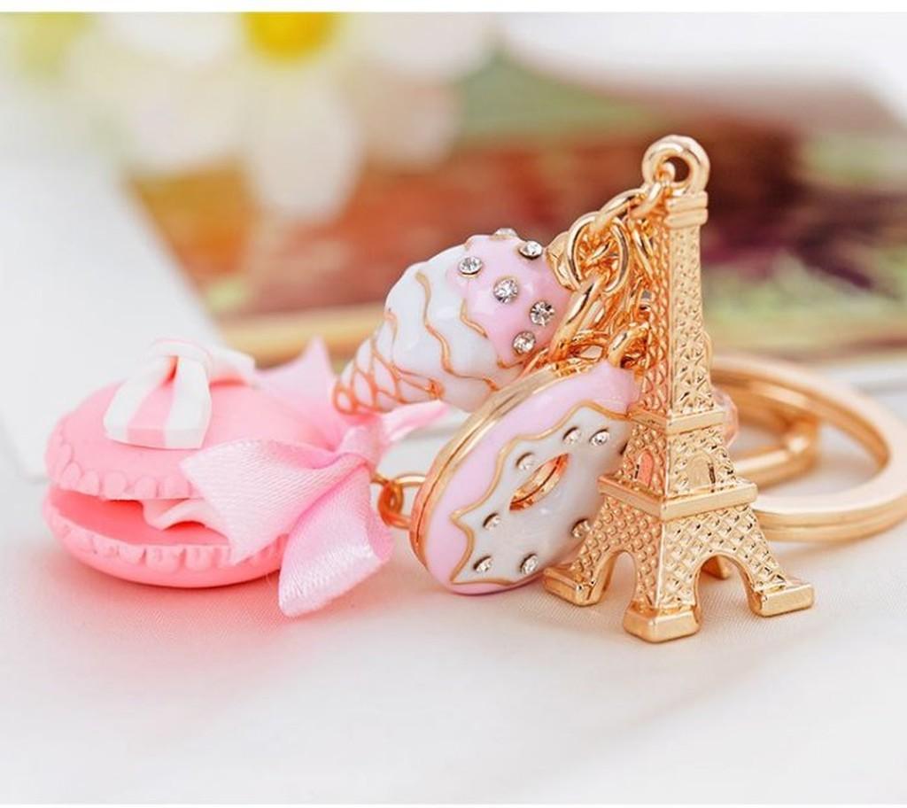 代客網拍馬卡龍巴黎鐵塔可愛甜美點心鑰匙扣背包吊飾