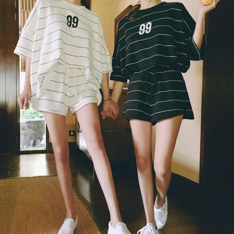 ☞ 價▲~ ❤麻豆實拍~~韓妞 大碼胖mm 條紋 套裝女夏短袖 服女裝寬松夏天短褲兩件套