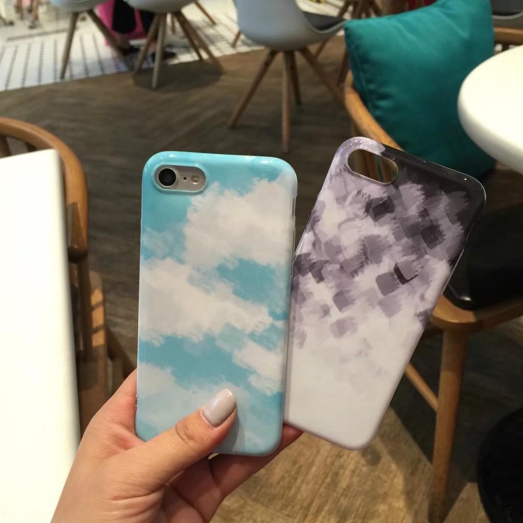 韓國清新iPhone6 6plus 簡約水彩畫渲染漸變色手機殼7 7plus 藝術男女款全