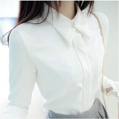 ~超 ~2017 女裝春夏款新品少女學院 修身長袖襯衣鑲鉆制服女白襯衫