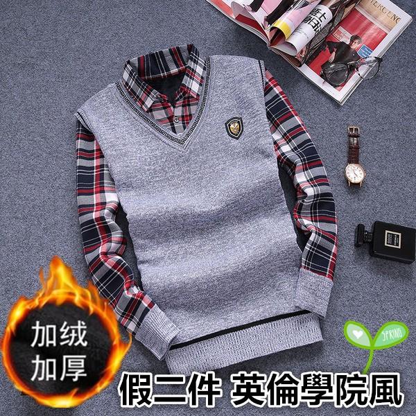 ~G T house ~男士商務保暖格子襯衫加絨加厚假兩件針織衫V 領背心修身 毛衣BLF
