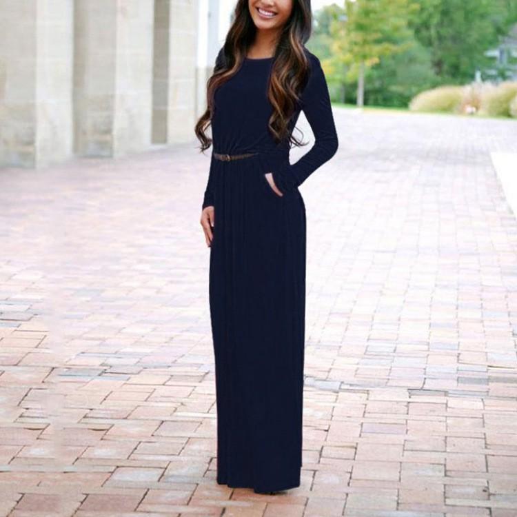 女裝長袖純色圓領口袋長裙配腰帶