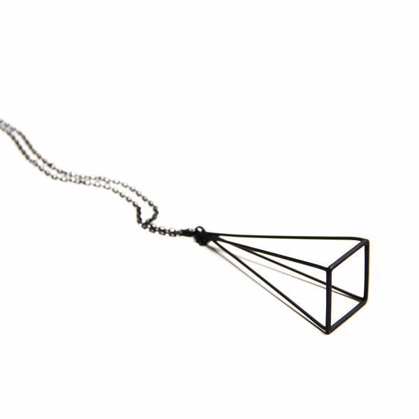 飾品原創極簡約3D 立體鏤空幾何形框架結構金屬長項鍊