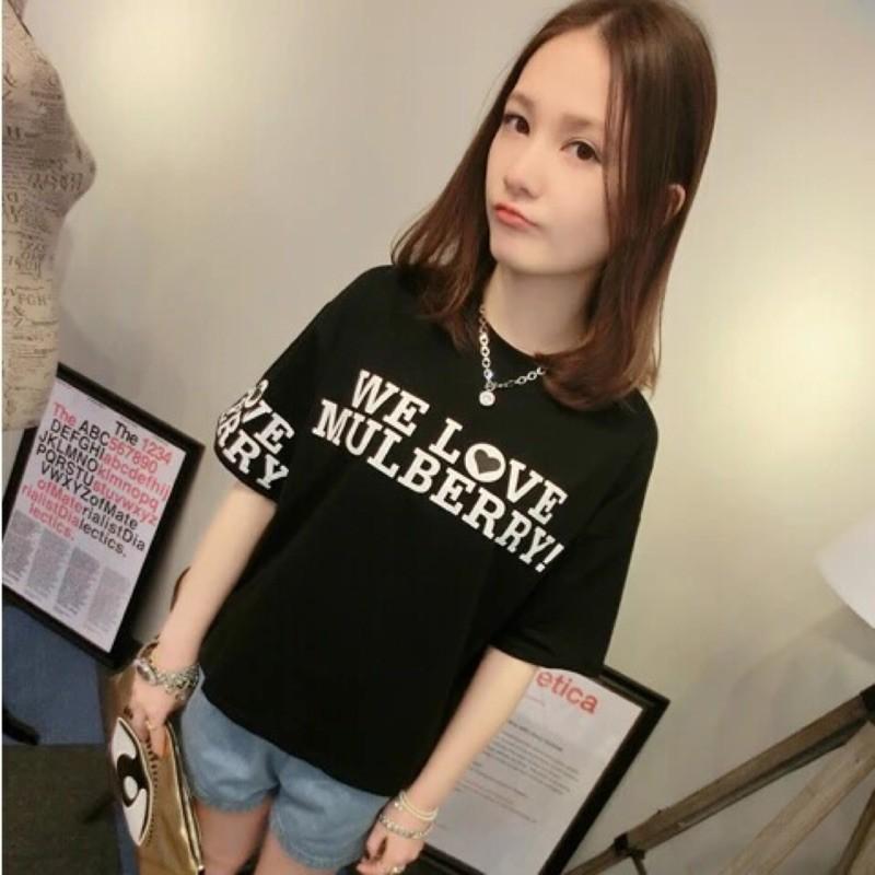 姐妹裝學生女版短袖T 恤衫女子圓領夏裝大碼寬鬆卡通上衣女裝
