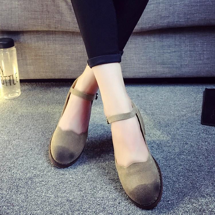 2016  女鞋粗跟復古單鞋真皮中跟休閒鞋女圓頭搭扣瑪麗珍鞋