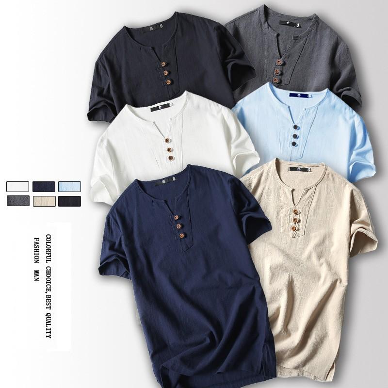 男士日系亞麻短袖薄T 卹青年大碼棉麻短袖T 恤上衣