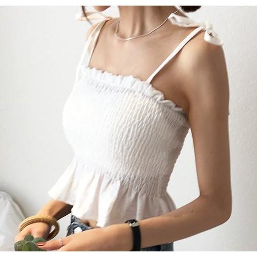 Yi Sin Boun Boun 依馨幫幫☺韓國清涼度假風彈力皺褶細肩綁帶背心3 色