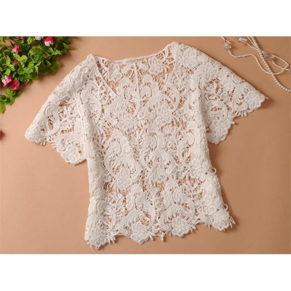 春夏女裝休閒針織衫鏤空蕾絲上衣