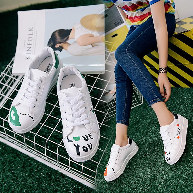 ❈ ❈小白鞋女平底板鞋 松糕厚底系帶學生 鞋嘴唇 鞋