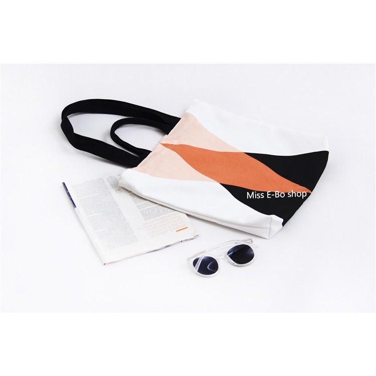 兩用包~雙三角~ 款印花布包小清新學生帆布袋 包拉鍊側背包手提袋帆布包1G014