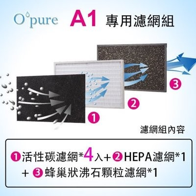 Opure 臻淨高效能HEPA 空氣清淨機A1 三片濾網組