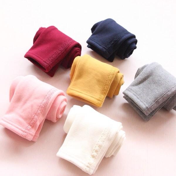 2016  童褲女童寶寶純色側蕾絲花邊兒童加絨打底褲