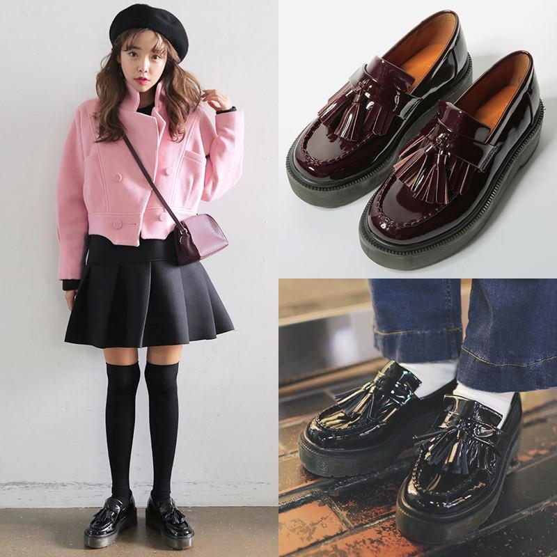 2016 春 粗跟復古小皮鞋英倫流蘇學院風大頭厚底松糕樂福女單鞋