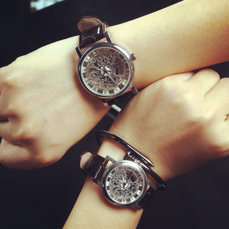 潮流 男表情侶非機械夜光雙面鏤空女學生皮帶防水石英手表