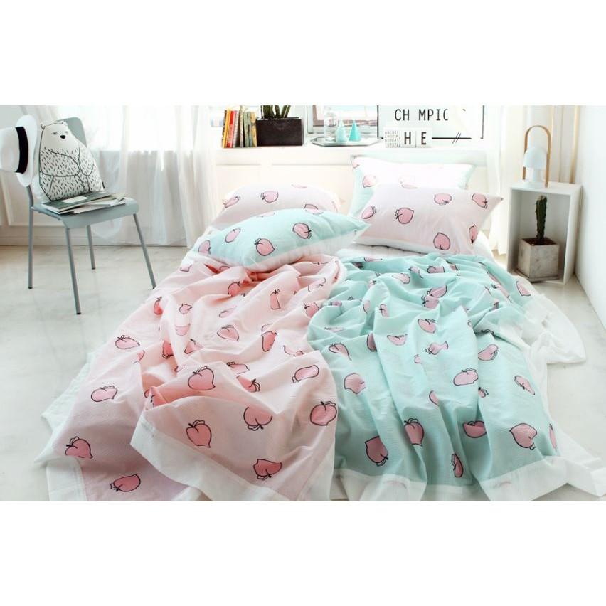 韓國少女水蜜桃夏日用枕頭套床單小被子 實拍