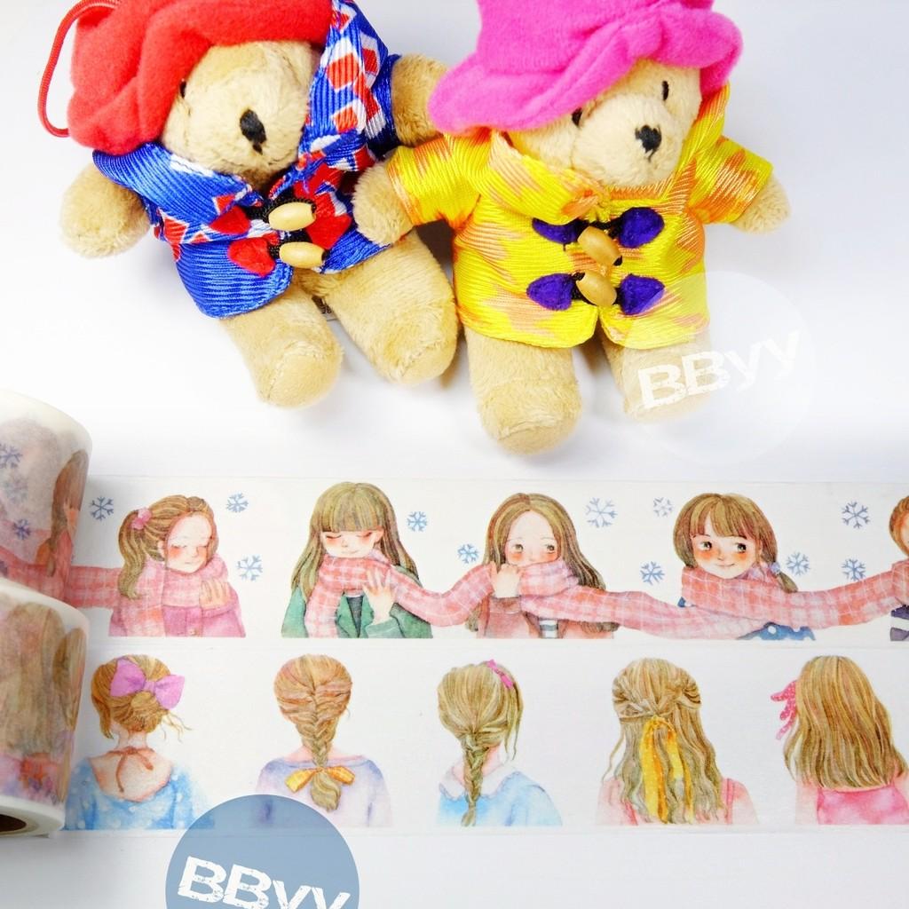 超寬女孩限定手繪風和紙膠帶髮型圍巾少女7 629