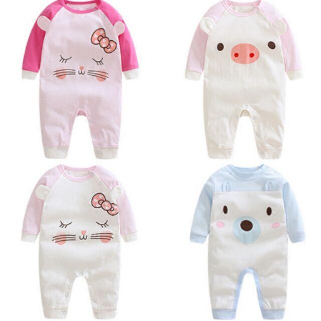 下單嬰兒連體衣 秋裝女寶寶哈衣爬爬服3 6 個月新生兒衣服純棉春秋長袖