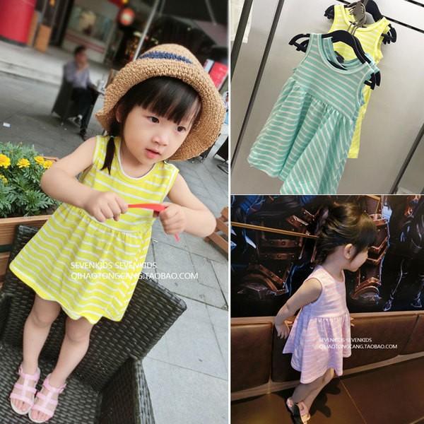 女童寶寶條紋熒光色吊帶裙背心裙兒童無袖連衣裙